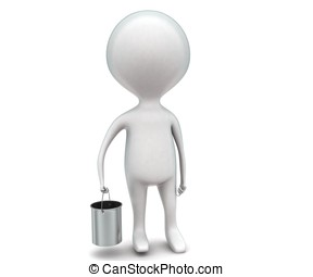 3d man holding a silver bucket in hand concept