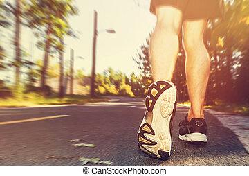 atlet,  man, solnedgång, joggning, utanför