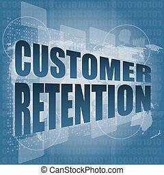 customer retention word on business digital screen vector illustration