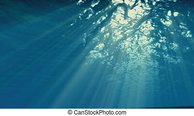 Underwater sunbeams Effect, Ocean waves