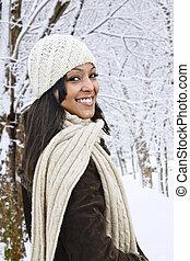 Happy woman outside in winter - Portrait of happy woman...