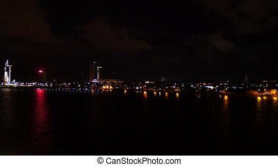 Night Riga, Suspension bridge, real time, slight pan