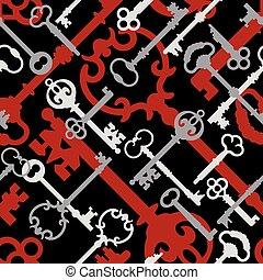 Skeleton Key Pattern in Red-Black - Seamless vector pattern...