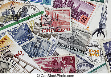 industry in vintage post stamps - POLAND, circa 1966 -...