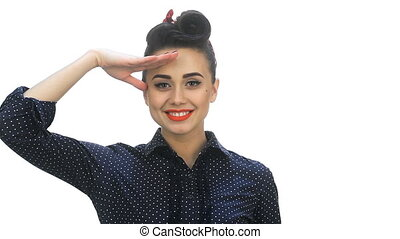 American pin-up girl saluting with a yes sir - Isolated...