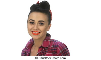 Young woman with pin-up make-up posing - Young woman with...