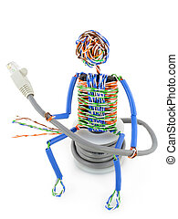 Twisted man from a computer cable