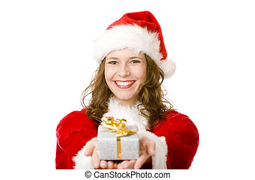 Young women in Santa Claus dress is holding a Christmas...