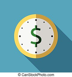 Clock with dollar icon - Golden clock with green dollar sign...