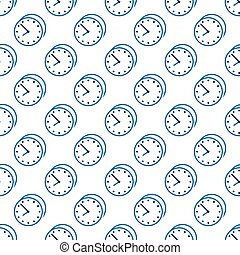 Stylish clock seamless pattern - Stylish beautiful blue...