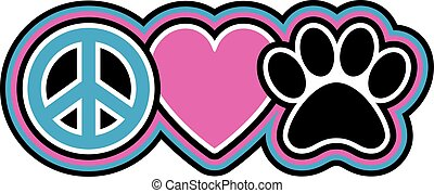 Peace-Love-Pets - Retro-styled icon design of a peace...
