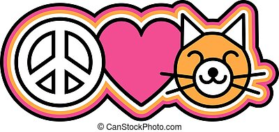 Peace-Love-Pussycats - Icon design of a peace symbol, heart...