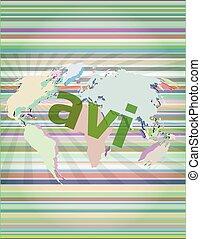 digital concept: avi word on digital screen vector illustration