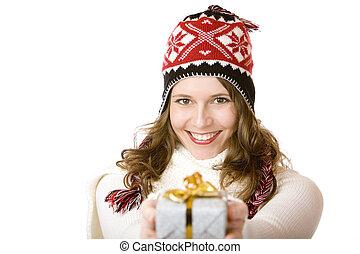 joven, mujeres, santa, Claus, Vestido, tenencia, navidad,...