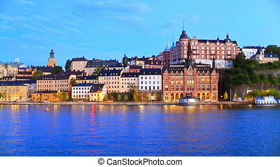 Old Town in Stockholm, Sweden - Scenic evening view of the...