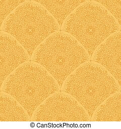 Ornaments in gold colors. Seamless wallpaper pattern.