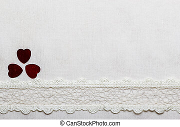 Lace ribbon hearts on white cloth - Valentines day...