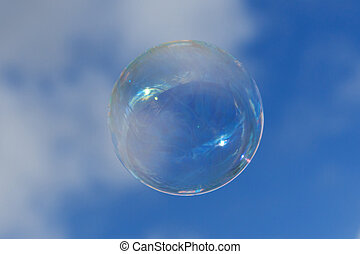 soap bubble on blue sky