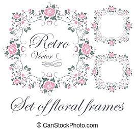 Set of floral frames - Set decorative floral frames vector...