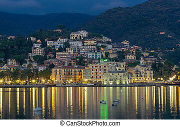 Nightview of Rapallo - view over the ligurian village of...