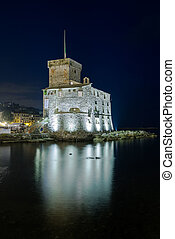 Nightview on the castle on the sea - The ancient castle of...