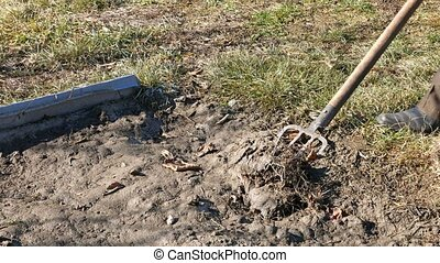 Digging spring earth soil in garden with pitchfork - Digging...