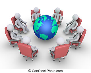 Businessmen in a meeting around earth