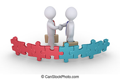 Businessmen agreement of two teams