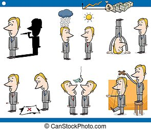 cartoon business concepts set - Concept Cartoon Illustration...