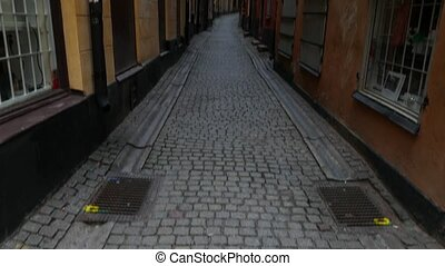 Gamla Stan,The Old Town in Stockholm, Sweden, pan up