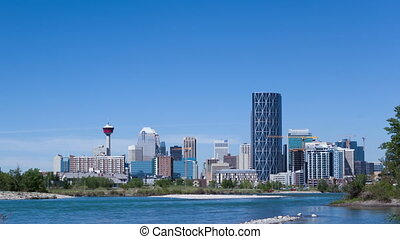 4K Time lapse zoom out of Calgary Skyline at daytime with...