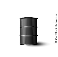 Black Metal Barrel of Oil Isolated on White Background