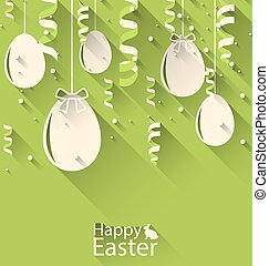 Happy Easter Green Background with Eggs and Serpentine -...