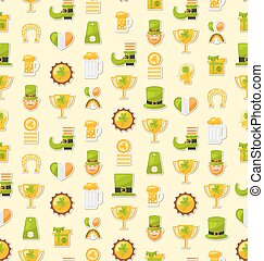 Seamless Template with Cartoon Colorful Flat Icons for Saint Pat