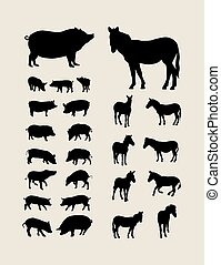 Pig and Zebra Silhouettes, art vector design