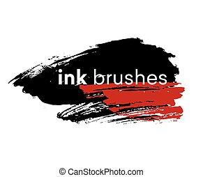 Detail ink brush paint stroke. Vector illustration