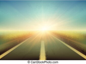 Blurred  road and blue motion blurred sky with clouds. Vector illustration