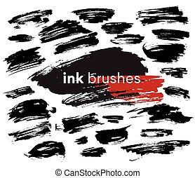 Detail ink brush paint stroke. Vector illustration EPS10