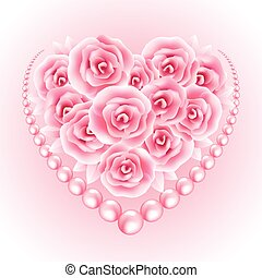 Pink roses, pearl and heart shap frame Vector illustration...