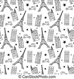 Paris Streets Black White Drawing Seamless Pattern with...