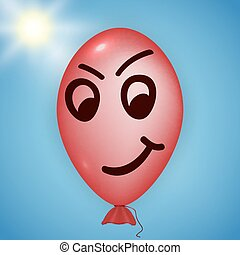 Red angry balloon - Illustration of the red balloon looking...