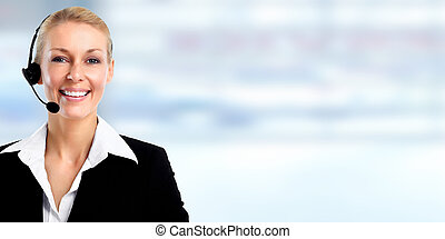 Smiling agent woman with headsets. - Smiling young agent...