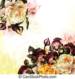 Grunge vintage background with realistic roses