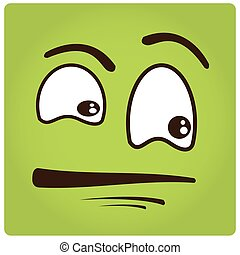 Facial Expression - Green background with an abstract facial...