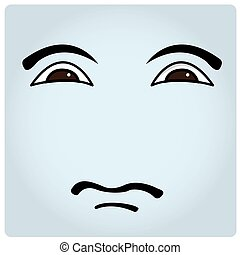 Facial Expression - Blue background with an abstract facial...