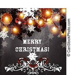 Merry Christmas grunge shabby background for festive design