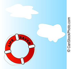 life preserver thrown into sky with white clouds
