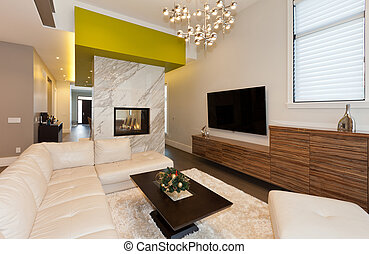 Living room area in new modern house