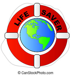 life preserver surrounding the earth - global protection...