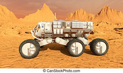 Space rover - 3D CG rendering of a space rover